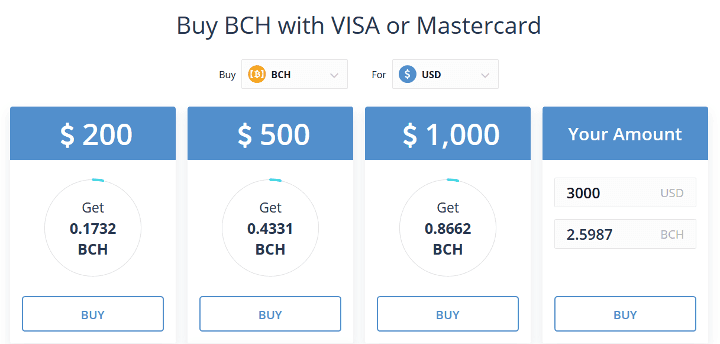 Buy Bitcoin Cash (BCH) with Credit Card, PayPal and more